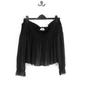 Off the shoulder blouse - black/sheer
